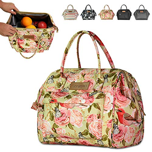 longzon 15L Kühltasche Lunchtasche Picknicktasche wasserdichte Faltbar Thermotasche Kühltasche für Camping, BBQ, Wandern, Picknick- Rosa Rose