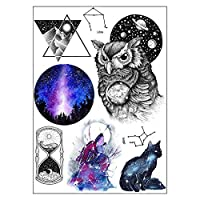BESTPICKS Large Waterproof Fashion Temporary Tattoo Sticker - OWL, TIME, CAT, WOLF, EARTH, TRIANGLE - 14.5 X 21 cm Sheet