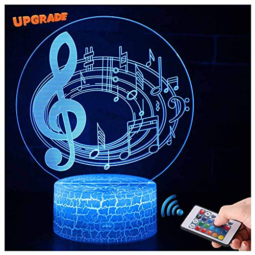 (3D Musik Lampe LED Nachtlicht mit Fernbedienung, USlinsky 7 Farben Wählbar Dimmbare Touch Schalter USB Nachtlampe GeburtstagGeschenk, FroheWeihnachten Geschenke Für Mädchen, Männer, Frauen, Kinder)