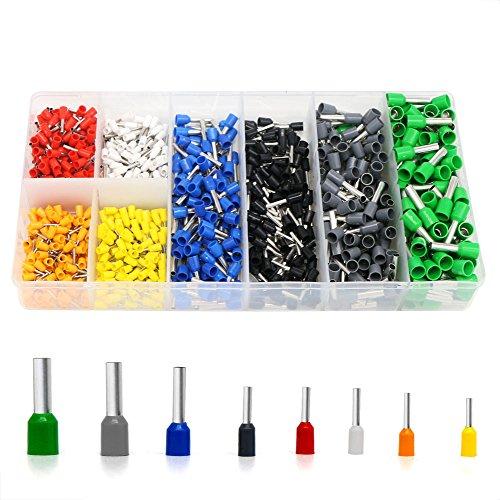 YIAN 1400pcs Aderendhülsen Sortiment Kabelschuhe Set mit 8 Farben ,Elektrische Verzinnte Kabelschuhe Set Aderend-Isolierhülsen Aderendhuelsen