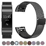 HUMENN Für Fitbit Charge 2 Armband, Luxus Milanese Edelstahl Handgelenk Ersatzband Smart Watch Armbänder mit Starkem Magnetverschluss für Fitbit Charge 2, Small Schwarz