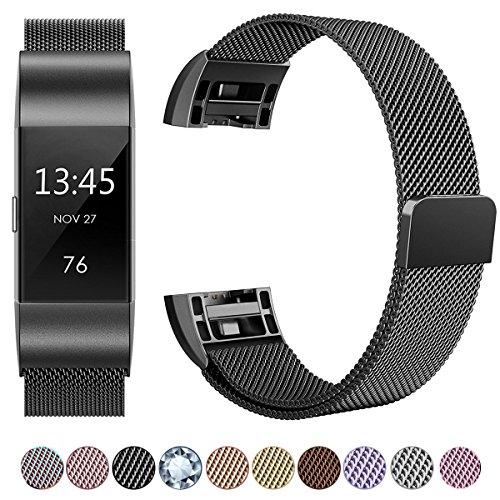 Fitbit Charge 2 Armband, HUMENN Luxus Milanese Edelstahl Handgelenk Ersatzband Smart Watch Armbänder mit Starkem Magnetverschluss für Fitbit Charge 2, Small Schwarz
