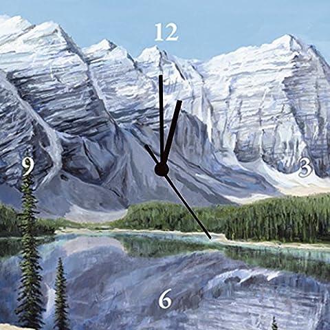 Artland mural Horloge digital d'Impression toile tendue sur un châssis en bois de qualité une horloge silencieuse Andres vue sur le lac de terrasse Paysages Montagnes Bleu Peinture de Mer 30x 30x 2,8cm