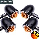 Tuincyn - Indicatori di direzione per moto, in alluminio anodizzato con lampadina, DC 12V (4 pezzi)