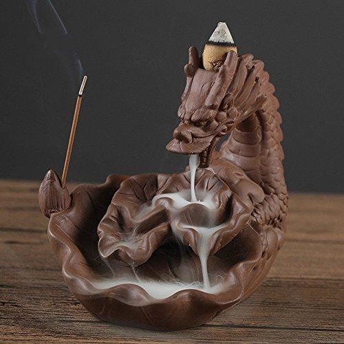 Quemador de incienso de cerámica en forma de dragón, con reflujo de humo; incluye 10conos de incienso, cerámica, marrón oscuro, 12.3 x 5.3
