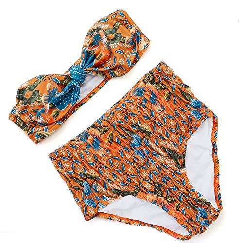 LMSHM Damen Bademode Hohe Taille Badeanzug Bademode Bandeau Bikini Retro Floral Vordere Bogen Knoten Falte Badeanzug Weibliche Beachwear - Falte Bogen