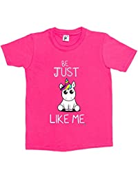 Fancy A Snuggle Be Just Like Me Cute Big Eye Unicorn Kids Girls T-Shirt