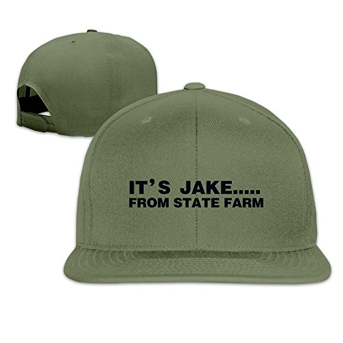 hittings-its-jake-from-state-farm-adjustable-hats-flat-brim-baseball-caps-forestgreen