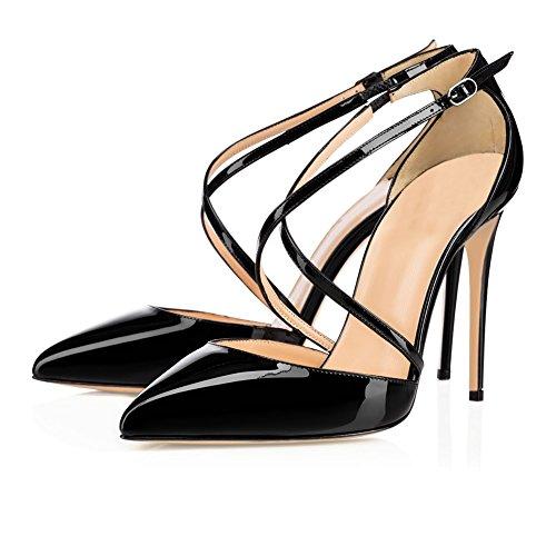 MERUMOTE Damen Y-192 Lack Kreuzriemen Stilettos Pumps Schuhe High Heels Spitze Damen Pumps Schwarz