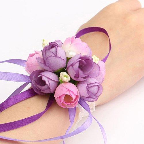 Gemini _ mall donna fiore corpetto da polso braccialetto damigella d' onore sorelle festa nuziale nuziale prom indossando, purple, taglia unica