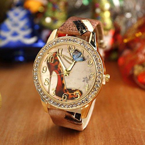 JSDDE Uhren,Oktoberfest Vintage Damen Strass Armbanduhr Falter Schuhe mit hohem Absatz Muster Analog Quarzuhr,Kaffee -