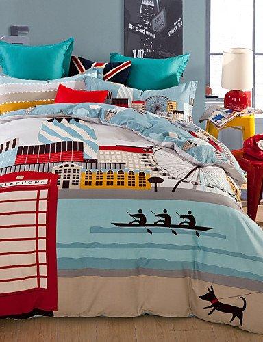 erteilige Anzug,Druckbettstadtleben Cover-Sets aus 100% Baumwolle Bettwäsche-Set Königin/Doppel/in voller Größe, Queen ()