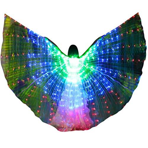 Kostüm Weihnachts Tanz - ZHANSANFM Farb LED Isis Flügel Tanz Erwachsene Bauchtanz Engelsflügel Performance Kleidung Karneval Halloween Wings Mit Teleskopsticks Leistung Kostüm Bühnen Weihnachten Cosplay Party Grün