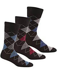 PIERRE ROCHE Men's Designer Cotton Rich Argyle Comfort Fit Socks Multipack