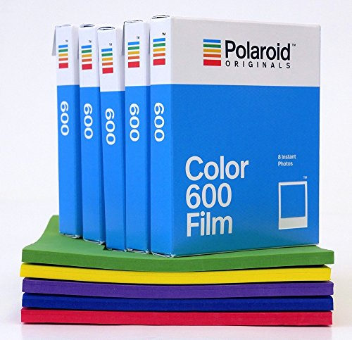 Polaroid Originals Color Sofortbildfilm für 600er Kameras 5er Pack + Polaroid Schaumstoff Fun Rahmen Set - Polaroid 95 Film