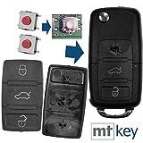 Auto Klapp Schlüssel Funk Fernbedienung Repair Reparatur Set 2X 3 Tasten Tastenfeld + 2X Mikrotaster für VW Seat Skoda