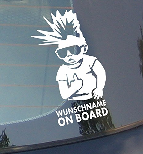 Wunschname on board - Irokesen Car Baby Sticker Kinder an Bord Aufkleber Name Baby Auto Aufkleber Wandaufkleber Wandsticker Wandtattoo