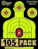 Easyshot Targets 105-Pack di ripresa, ad Alta Contrasto Lo Rendono Facile da Vedere i Tuoi scatti Terra, Fogli Heavy-Duty Silhouette di Carta 150 Riparazione Adesivi gratuiti 18' x 12'