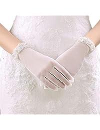 2b76587c2987 Guanti Da Sposa Guanti Da Sposa Perle Matrimonio Bianco Tinta Avorio Moda  Unita Unique Stlie Guanti