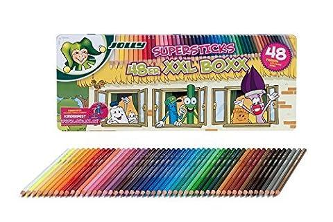 Jolly Crayons de couleur SUPER Sticks Kinderfest XXL Boîte de 36stylos dans étui en métal, 3000-0494 SET 48 + 24 DUO