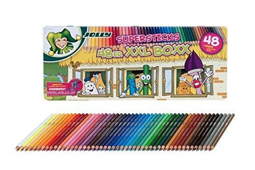 Jolly Buntstifte Supersticks Kinderfest XXL Box, 48 Stifte in Metalletui + Superstar Duo sort., 24er-Kartonetui, Fasermaler, Filzstifte 3000-0494 (SET 48 + 24 DUO)
