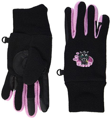 QHP Fleece-Reithandschuhe Flicka Handschuhe Druckmotiv Touchscreennutzung (Junior 1, Schwarz)