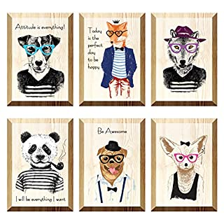 The Nisha Inspirational WallArt Pictures Art Magic 3D Vinyl Removable Wooden Wall Sticker Decals DIY, Set of 6, Attitude is Everything 130-UK