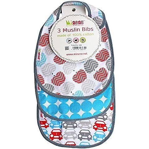 Minene-Mussola per neonati e bambini, Super assorbente Drool-Bavaglini con cinghie regolabili, colore: rosso/grigio, confezione da 3 pezzi