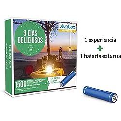 VIVABOX Caja Regalo -3 DIAS DELICIOSOS- 1.500 estancias. Incluye: una batería Externa para Smartphone