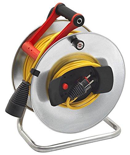 Brennenstuhl enrouleur electrique Silver Jardi (câble 50 m, Rallonge Prolongateur électrique pour intérieur, couleur argent) Fabrication Française