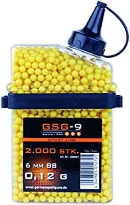 Gsg calidad de 0,12 g de HFC airsoft bb airsoft munición pieza 2.000 cal. 6 mm, amarillo, 200.037