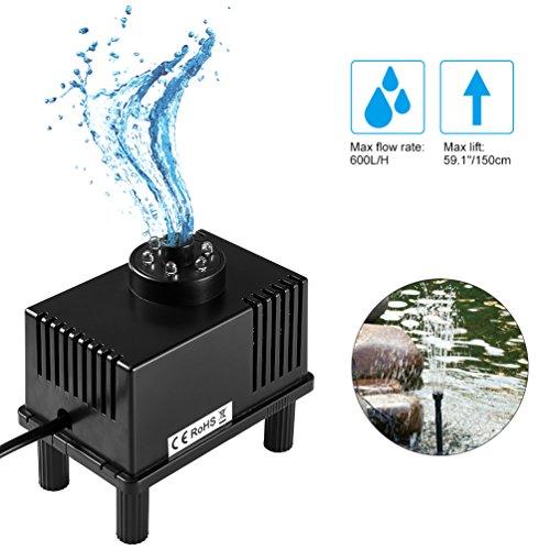 Preisvergleich Produktbild ledgle 5W Tauchpumpe, kompakte Brunnen Wasser Pumpe mit 190cm Power Kordel, kraftvolle Saugnapf, 600L/H, weiß Licht, 5Düsen, schwarz