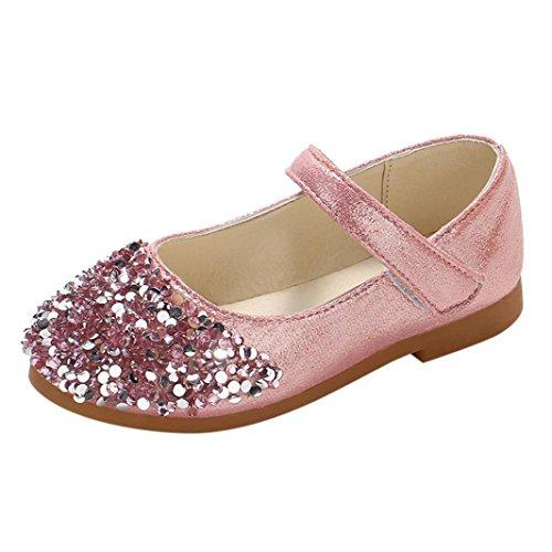 QinMM Kinder Kleinkind Schuhe Infant Baby Mädchen Kristall Leder Einzelne Schuhe Party Prinzessin Schuhe Single Casual Sneaker Silber Gold Rosa 20 EU-29 EU (EU 25 / Chinesisch 26, Rosa) (Kinder Rosa Sneaker)