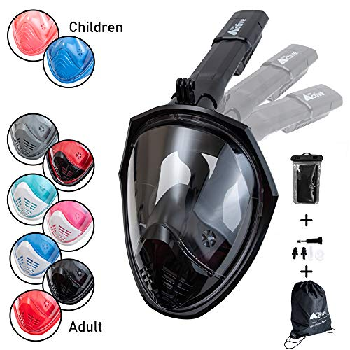 Folding Full Face Snorkeling Mask With Drawstring Bag And Waterproof Phone  Case, UK Seller, Breathe Through Your Nose and Mouth | 180 Degree View With