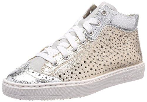 Rieker Damen M79K5 Hohe Sneaker, Weiß (Silber/Fog/Gold), 39 EU