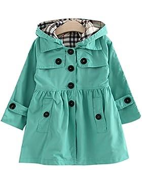 Free Fisher Kinder Mädchen Klassischer Trenchcoat Übergangsjacke mit abnehmbarer Kapuze