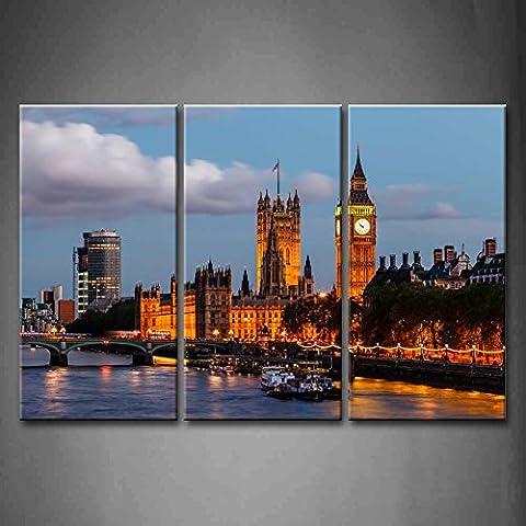 3panneau mural art Big Ben et Westminster Bridge Soirée Londres
