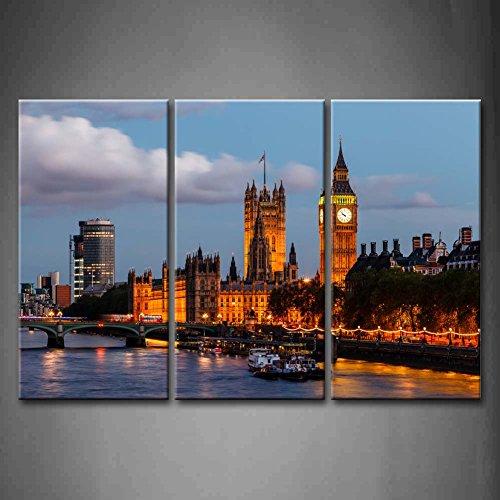3Panel Wand-Art Big Ben und Westminster Bridge Abend London United Kingdom Boot...