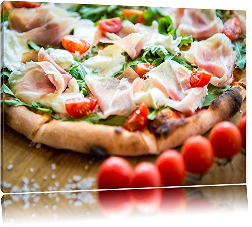 Leckere Pizza mit Parmaschinken Format: 120x80 auf Leinwand, XXL riesige Bilder fertig gerahmt mit Keilrahmen, Kunstdruck auf Wandbild mit Rahmen, günstiger als Gemälde oder Ölbild, kein Poster oder Plakat
