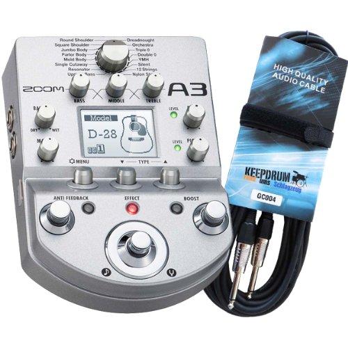 Zoom A3 Vorverstärker & Multieffektgerät + KEEPDRUM Gitarrenkabel GC-004 6m GRATIS!