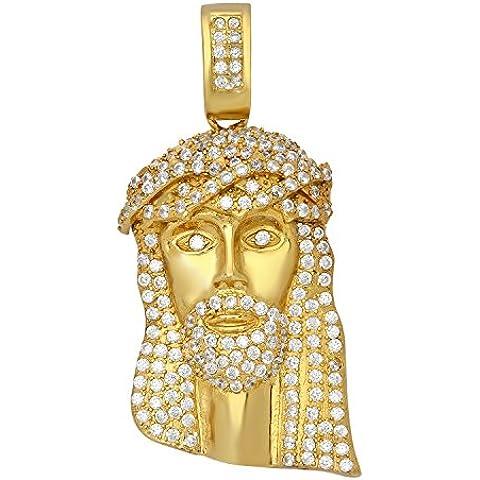 Da uomo in argento placcato oro Gesù piece Pendente/W Micro Pave Zirconia Cubica