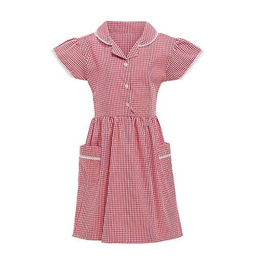 Schwarz Kostüm Plaid - feiXIANG Baby Kleider Plaid School Dress Blusenkleid kostüm Retro Freizeit Kleinkind Druckkleider Kurzarm Faltenrock(Rot,M=5-6 Jahre)