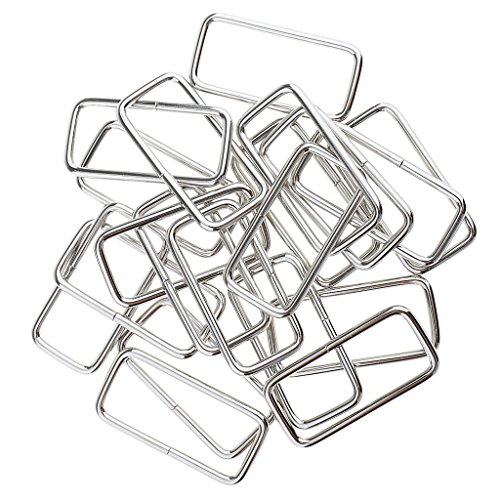 Sharplace 20pcs Square Metal Connector Buckles for DIY Bag Making Bag - Silver, 38x16x2.8mm