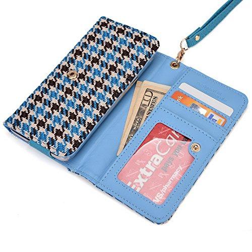 Kroo Housse de transport Dragonne Étui portefeuille pour Nokia X2/Lumia 625/Lumia 730dual sim Violet/motif léopard Blue Houndstooth and Blue