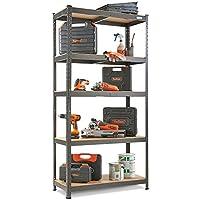 VonHaus 5 Tier Garage Shelving - Metal Racking, Steel & MDF Boltless Shelves - Massive 875kg Capacity 175KG per Shelf - 180cm H 90cm W 40cm D