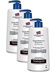 Neutrogena Norwegische Formel Deep Moisture Bodylotion Sensitive / Parfümfreie Pflege (3 x 400 ml)