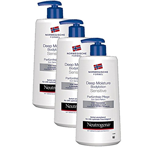 Neutrogena Norwegische Formel Deep Moisture Bodylotion Sensitive, Parfümfreie Pflege, 3er Pack (3 x 400 ml)