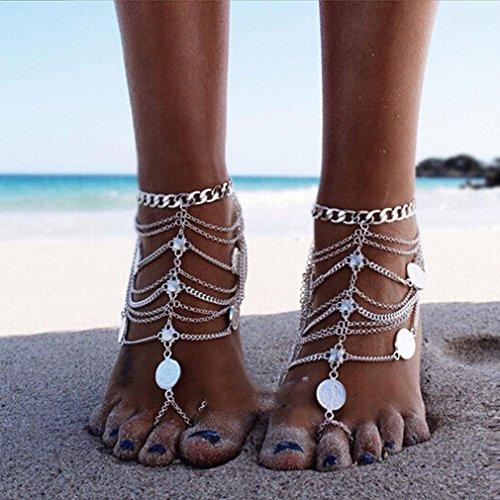 GYJUN una pieza de tobillo de cadena de plata colgante brazalete de moneda de la manera de la vendimia del pie sandalias de cadena para el , one size