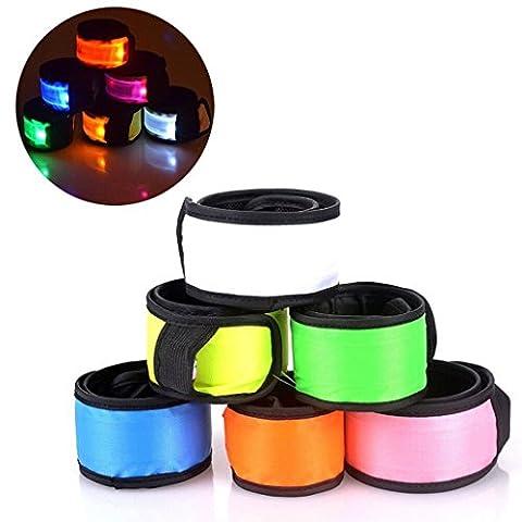 Esonstyle 6 Stücke der Nacht-Sicherheits-LED-Verschluss-Armbinde leuchten Klaps-Verpackungs-Armbänder Handgelenk-Bänder für das laufende das Radfahren, das im Freiensport läuft