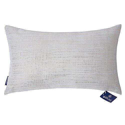 Federa per cuscino in lino, stampa metallica con motivi argentati e dorati brillanti, con stampa decorativa, cuscino lombare per letto e divano, metallic gold print, 12x20 inch(30.5x50cm)